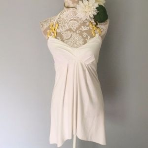 Caché // White, Gold Chainlink Halter Tunic Top S